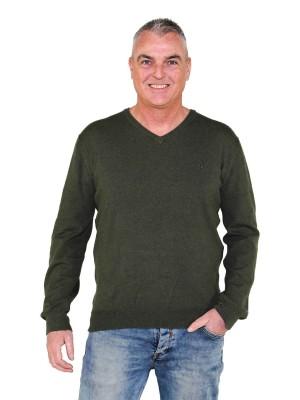 Pullover V-Hals Heren Olijfgroen
