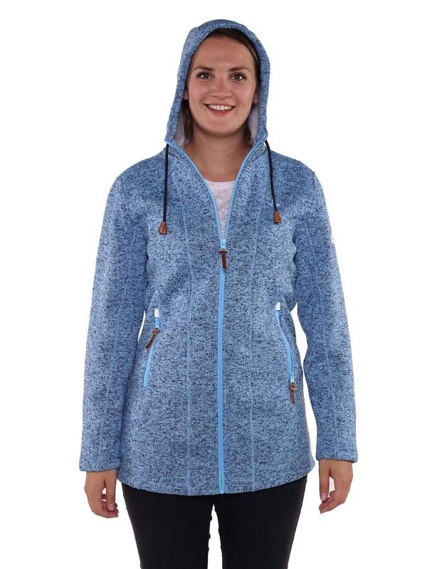 Lang Vest Gebreid Dames Warm Blauw Melange
