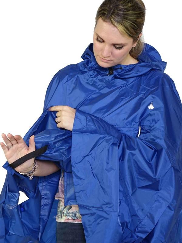 Regenponcho Unisex Waterdicht Blauw - One Size - Haps