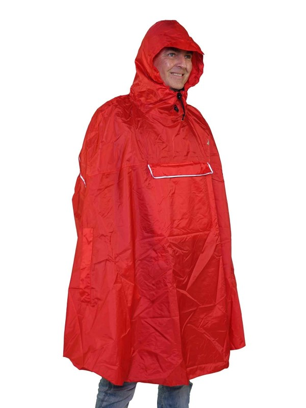 Regenponcho Unisex Waterdicht Rood - One Size - Haps
