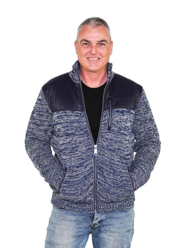 Gebreid Vest Heren Acryl Donkerblauw melange - S-6XL - NOUD