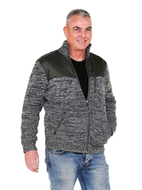 Gebreid Vest Heren Acryl Olijfgroen melange - S-6XL - NOUD