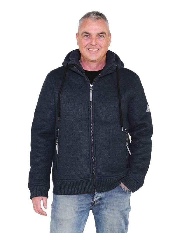 Gebreid Vest Heren Borgvoering Staalblauw - S-6XL - OSKAR