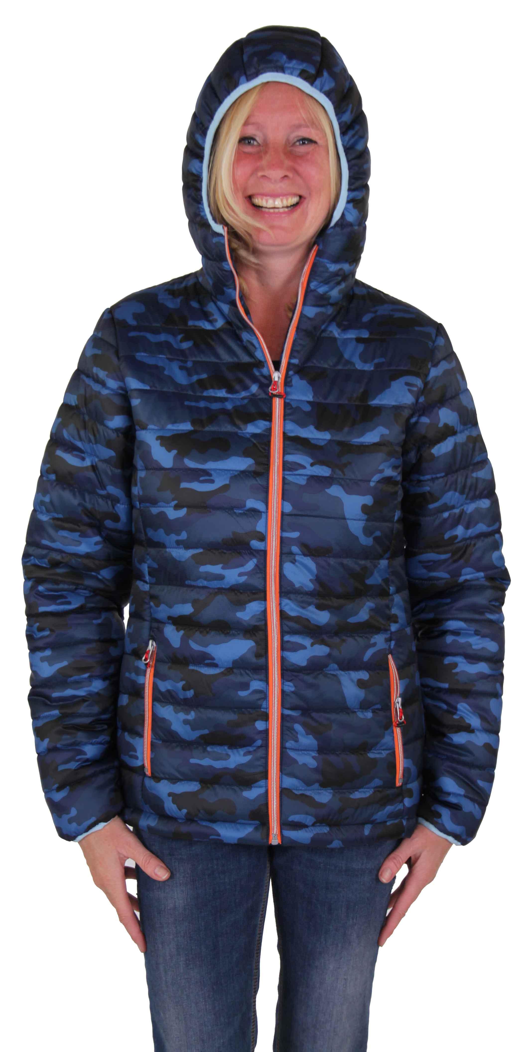 Camouflage Blauwe dames winterjas kopen - Bjornson.nl - Outdoorkleding