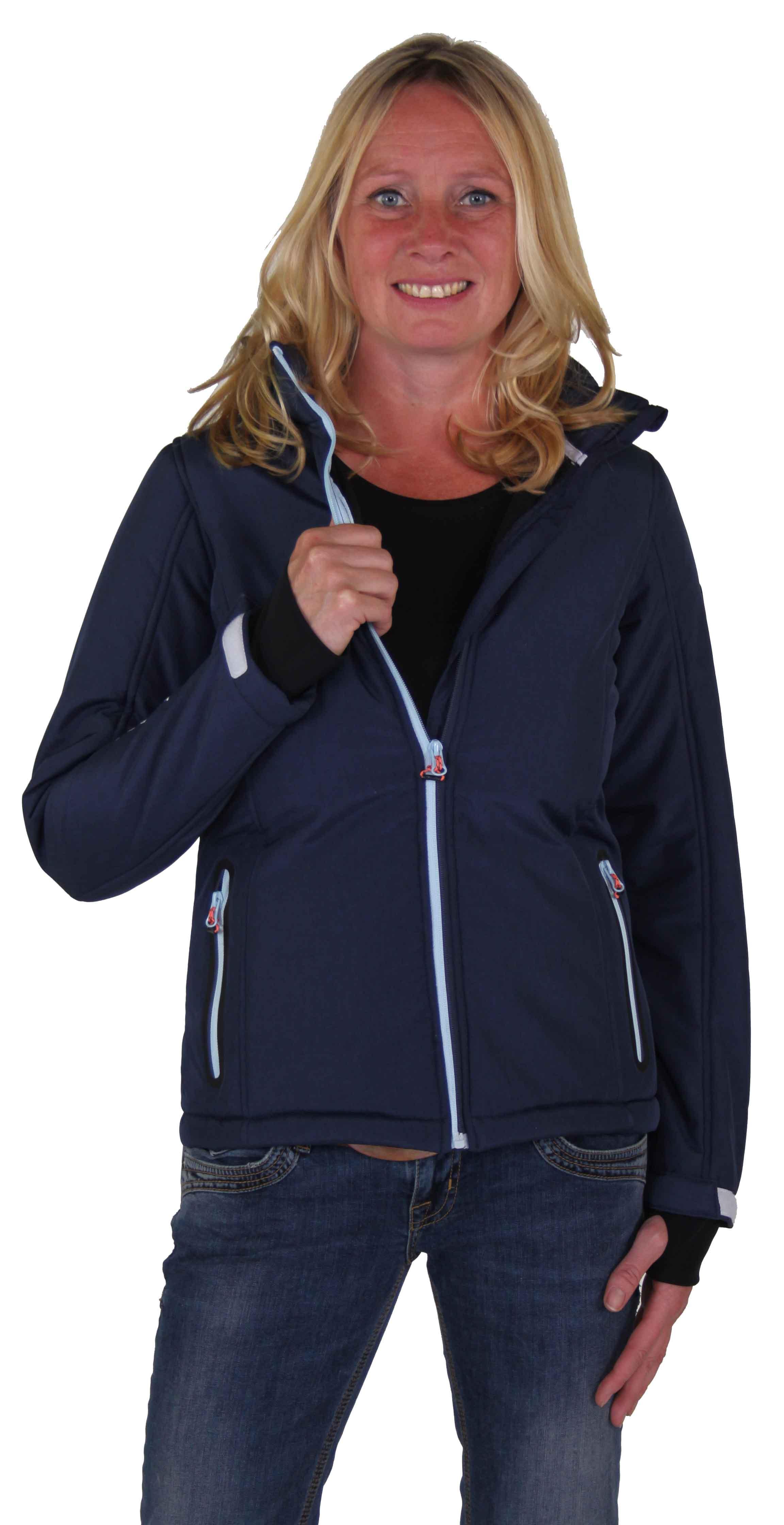 Donkerblauwe teddy gevoerde dames softshell jas winter kopen? - Outdoorkleding - Bjornson.nl
